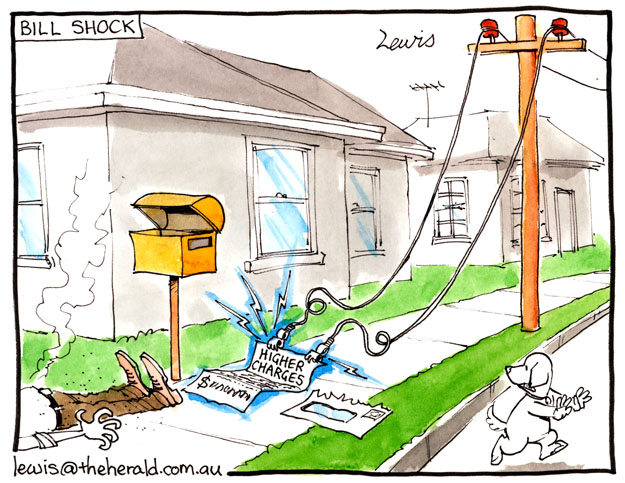 Shocking electricity bills | Art by Peter Lewis